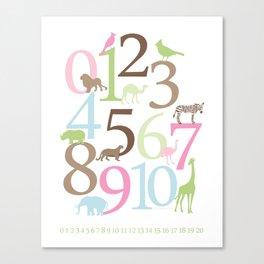 Animal Numbers -  Brooke colorway Canvas Print