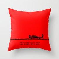 delorean Throw Pillows featuring DeLorean by Tony Vazquez