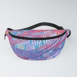 Filigree Butterfly Stencil - Chinoiserie Chic Watercolor Art -  Sky Blue, Red, Pink Fanny Pack
