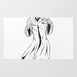 Grim reaper holding an hourglass -  black and white Rug