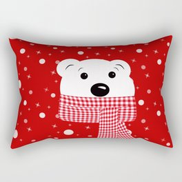 Muzzle of a polar bear on a red background. Rectangular Pillow