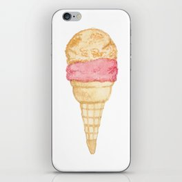 Watercolour Illustrated Ice Cream - Peony Pleasure iPhone Skin