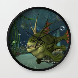 Awesome fish in the deep ocean Wall Clock