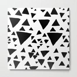 Black white hand painted geometric triangles Metal Print