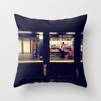 subway Throw Pillows featuring Subway by Alissa Fleck