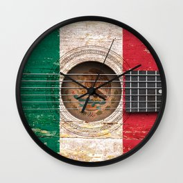 Old Vintage Acoustic Guitar with Mexican Flag Wall Clock