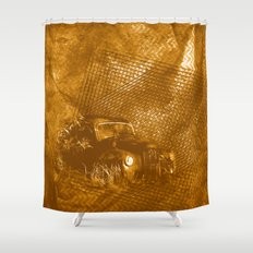 Abstract abandoned car on rusty brown textured background Shower Curtain