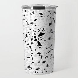 Black White and Grey Speckles Terrazzo Monochrome Dots Patter Travel Mug