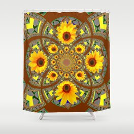 OPTICAL ART BROWN-GREY SUNFLOWERS Shower Curtain