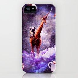 Outer Space Pug Riding Giraffe Unicorn - Donut iPhone Case