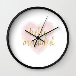 Pink Gold Watercolor Heart Hello Beautiful Wall Clock