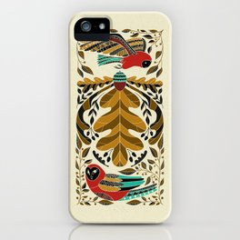Folk Art Owl in Red and Turquoise iPhone Case