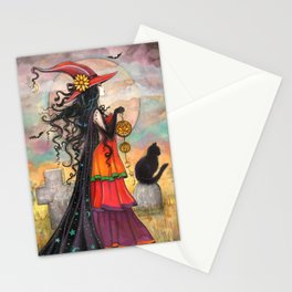 Witch Way Halloween Witch and Cat Fantasy Art by Molly Harrison  Stationery Cards