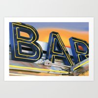 bar Art Prints featuring Bar. by Alexandra Johnson