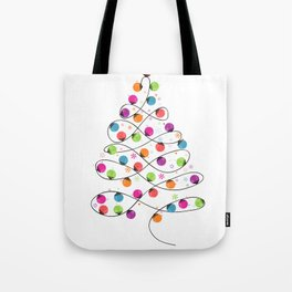 Colorful Christmas tree made of light bulb new year greeting card Tote Bag