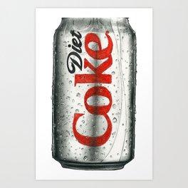 Diet Coke Pencil Sketch Art Art Print