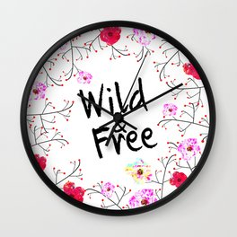412 2 Wild and Free Floral Wall Clock