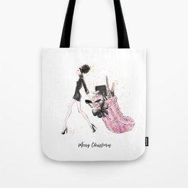 Merry Christmas Fashion Print - Curly Hair Option Tote Bag