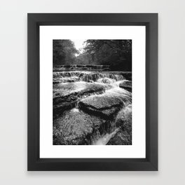 Black and White Rock Crossing Over Waterfall Nature Photography Framed Art Print