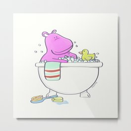 Bath Time Hippo Metal Print