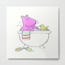 Bath Time Hippo Metal Print