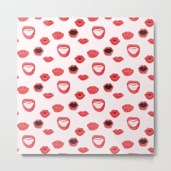 Pretty Lips Pattern Metal Print