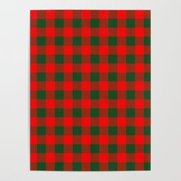 Jumbo Holly Red and Balsam Green Christmas Country Cabin Buffalo Check Poster