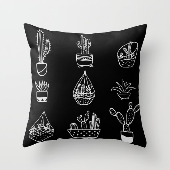 Minimalist Cacti Collection White on Black Throw Pillow by Nature Magick Society6
