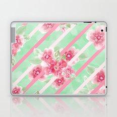 Summer Blossoms Diagonal Stripes Laptop & iPad Skin