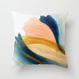 Slow as the Mississippi - Acrylic abstract with pink, blue, and brown Throw Pillow