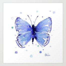 Dark Blue Butterfly Watercolor Art Print