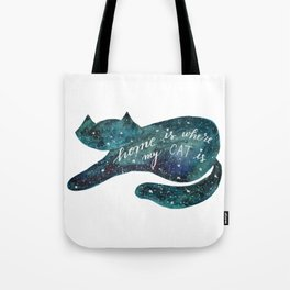 Watercolor galaxy cat – turquoise Tote Bag
