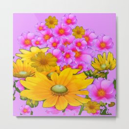PINK COLOR PINK-YELLOW FLORALS ART Metal Print