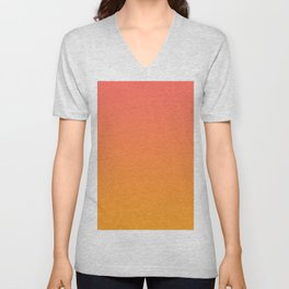 Pantone Living Coral 16-1546 & Pantone Radiant Yellow 15-1058 Ombre Gradient Blend Unisex V-Neck