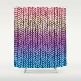 Rainbow Gradient Chunky Knit Pattern Shower Curtain