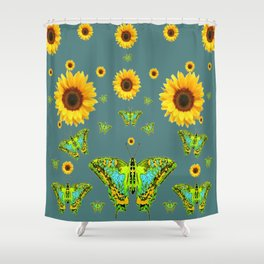 SUNFLOWERS & GREEN MOTHS ABSTRACT ART Shower Curtain