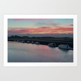 Acle river bure sunset Art Print