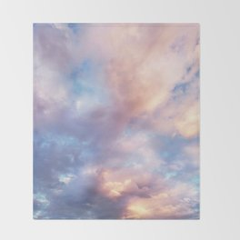 Sunset | Pink Clouds | Sky | Rainbow | Unicorn Colours | Nature Throw Blanket