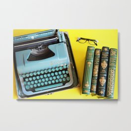 Typewriter and Vintage Books Metal Print