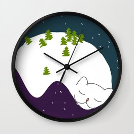 Cozy Christmas  Mountain Landscape Sleeping Cat Wall Clock