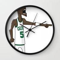 kevin russ Wall Clocks featuring Kevin Garnett by frappeboy