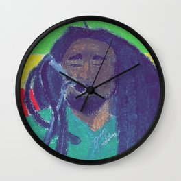 BobMarleywithflag Wall Clock