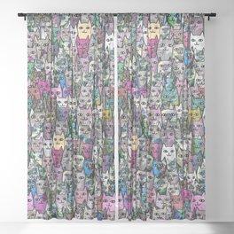 Gemstone Cats CYMK Sheer Curtain