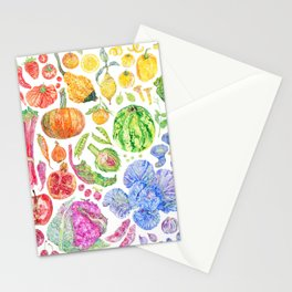 Rainbow of Fruits and Vegetables Stationery Cards