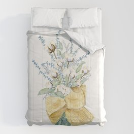 Cotton and Flower Bouquet Watercolor by Liz Ligeti Kepler Comforters
