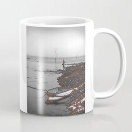 Boy and Seagull fishing near a nuclear power station. Coffee Mug