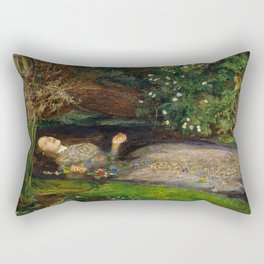 Ophelia from Hamlet Oil Painting by Sir John Everett Millais Rectangular Pillow