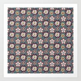 vintage pink teal gray boho floral pattern Art Print