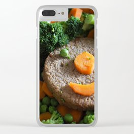 Vegan food. Smiling soy burger. Clear iPhone Case