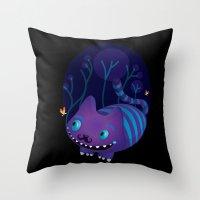 cheshire Throw Pillows featuring Cheshire by Maria Jose Da Luz